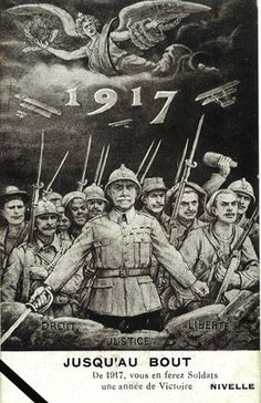 """WWI - French poster, """"1917, will be a year of victory for the soldiers""""."""