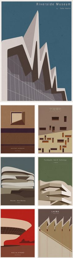 Vintage-inspired minimalist posters celebrating the architecture of famous museums by Portuguese illustrator Andre Chiote (http://cargocollective.com/andrechioteillustration)