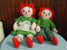 Vintage Handmade Raggedy Ann and Andy Rag Dolls