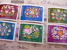vintage folk birds flowers stamp set - Bulgaria - postage stamp - postage stamp ephemera - via Etsy