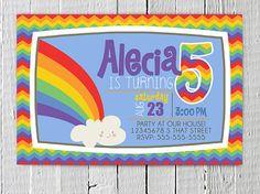 Coupon Code - REPIN10 for 10% off Printable Rainbow Birthday Invitation Rainbow Chevron Custom JPG Birthday Party Invite Rainbow Birthday Party Supplies, Boy Girl Party Supplies $10.99