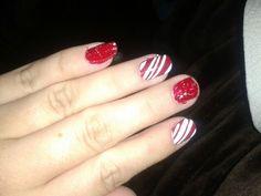 Christmas nail art Candy cane