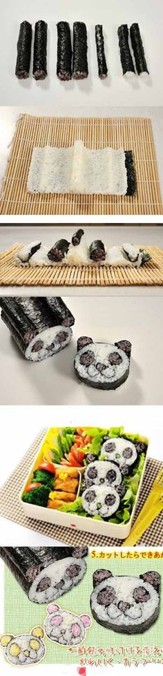 how to make panda sushi maki roll bento-fun-food-idea Cute Food, I Love Food, Yummy Food, Good Food, Bento Recipes, Cooking Recipes, Panda Sushi, Maki Roll, Do It Yourself Food