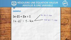 Allô prof - Résoudre une équation valeur absolue à une variable