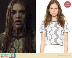 Lydia's grey floral lace top on Teen Wolf.  Outfit Details: http://wornontv.net/36744/ #TeenWolf