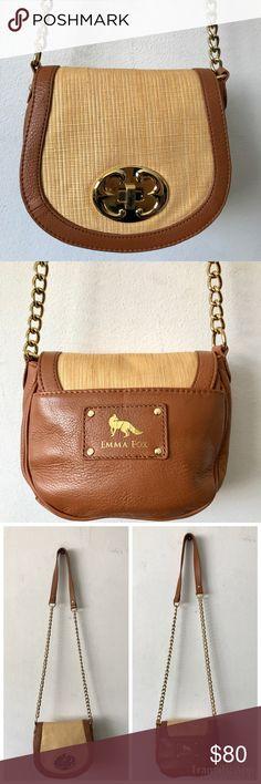 Emma Fox Newport Crossbody Flap Bag NWOT $150 NWOT Emma Fox Newport Flap Crossbody Bag $150  Color: Maple  Gorgeous straw & leather bag that's never been used! Emma Fox Bags Crossbody Bags