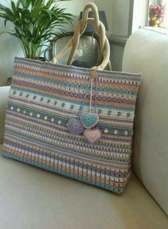 crochet bag with beautiful striping, no pattern, inspiration only