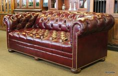 Thomasville tufted oxblood red leather Chesterfield style sofa. #OnTheShowroomFloor #Thomasville #Tufted #Oxblood #Red #Leather #Chesterfield #Sofa #StillGoode