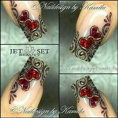 Cute and Romantic Valentine's Day Nail Art Designs Valentine's Day Nail Designs, Fingernail Designs, Creative Nail Designs, Creative Nails, Pretty Nail Art, Beautiful Nail Art, Fabulous Nails, Gorgeous Nails, Gel Nails