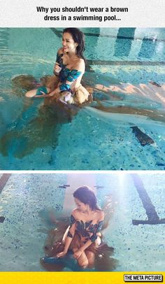 Wearing A Brown Dress In A Swimming Pool