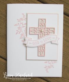 Hold Onto Hope Christian scripture bible verse cross diecut Stampin Up pink girl Lyssa rubber stamps Confirmation Cards, Baptism Cards, Christening Card, Easter Cards Religious, Christian Cards, Get Well Cards, Tampons, Sympathy Cards, Baby Cards