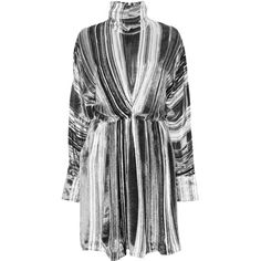 J.W. Anderson Velvet Striped High Neck Ruched Dress (19.375 HRK) ❤ liked on Polyvore featuring dresses, gathered dress, rouched dress, j.w. anderson, high neck dress and textured dress