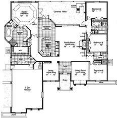 2962 Total Heated Square Feet Floor 2962 Width: Depth: 4 Bedrooms 3 Full Baths Garage Attached, Side Entry Size: x Door Door Standard Foundation - Slab Exterior wall framing - Concrete slab House Plans And More, House Floor Plans, Portico Entry, Mediterranean Design, Contemporary House Plans, Ranch Style Homes, Up House, My Dream Home, Dream Homes