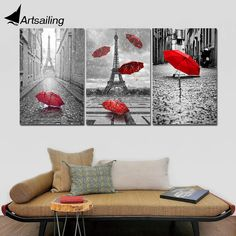 """ArtSailing 3pcs Canvas Black and White Eiffel Tower with Red Unbrella on Paris Street Painting Romantic Picture Print NY-7785D"" Room Deco, Street Painting, Love Wall Art, Romantic Pictures, Framed Prints, Canvas Prints, Home And Deco, Paris Street, Spray Painting"