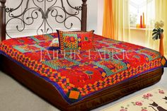 Blue Border Jaisalmer Handmade Embroidery with Thread Work Elephant Print Double Bed Sheet with Two Pillow Covers
