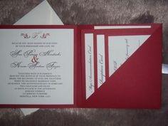 Red and Ecru  handmade wedding invitation. $3.50, via Etsy.