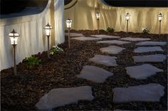 Outdoor entertaining is more fun at night! Add path lights for an added glow.