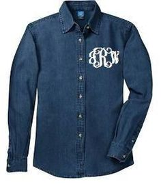 7910270ca51fed Long Sleeve Denim with Embroidered Monogram - Southern Grace Creations Tm  Logo, Blue Denim Shirt