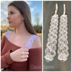 Discover thousands of images about Shirt Extender White Double Scalloped Lace – Classic Dianne Bh Hacks, Sewing Hacks, Sewing Crafts, Diy Bra, Scalloped Lace, Creation Couture, Clothing Hacks, Bra Straps, Clothing Alterations