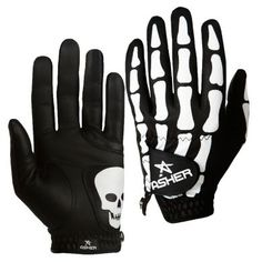 Asher Deathgrip CoolTech Men's Golf Glove.The intimidating bones design is accentuated by an added skull on the palm patch, hiding the fact that with its stretch lycra finger inserts, comfort abounds.