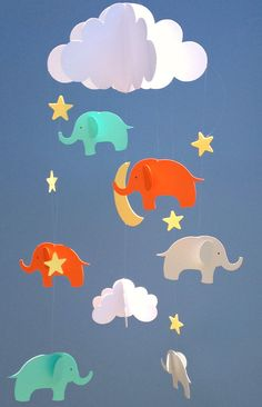 Baby Mobile Elephant Hanging Baby Mobile/3D Paper by goshandgolly