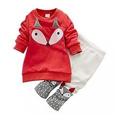 ins hot toddler Baby Girls Clothing set adorable Children s winter Clothing  kids Long Sleeve Fox Tops+Pant Sets thick sweatshirt db6e9034b031