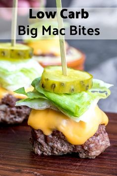 These Low Carb Big Mac Bites are a keto recipe for mini bunless burgers that make a great low carb appetizer or game day food idea! These are one of those easy appetizer recipes that appeals to those…More 12 Easy Keto Diet Friendly Snacks & Treat Recipes Big Mac, Low Carb Appetizers, Easy Appetizer Recipes, Dessert Recipes, Dinner Recipes, Appetizer Ideas, Shrimp Recipes, Recipes For Snacks, Cooking Recipes
