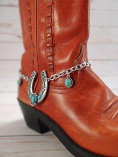 Turquoise horseshoe boot bracelet Silver & turquoise