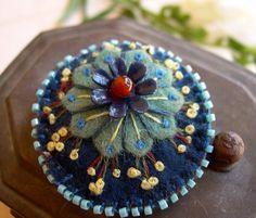 Felt Flower Brooch FREE SHIPPING by skippingstones on Etsy