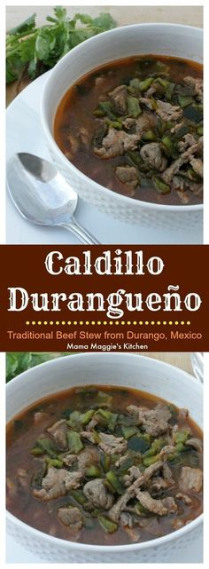 Caldillo Durangueno a traditional beef stew from Durango Mexico Deep robust and full of delicious chile flavors via MamaMaggiesKitchen Healthy Soup Recipes, Mexican Food Recipes, Beef Recipes, Dinner Recipes, Cooking Recipes, Mexican Dishes, Diabetic Recipes, Sauce Recipes, Dinner Ideas