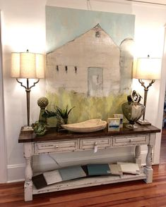 """""""Pine Hill Barn"""" Available for purchase through and paired with this sideboard… Acrylic Painting Inspiration, Diy Painting, Farmhouse Paintings, Barn Paintings, Antique Store Displays, Christmas Paintings On Canvas, Barn Art, Tile Crafts, Wall Decor"""
