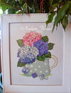 Cross stitch /Çarpı işi - Etamin işi Ortancalı Pano (Cross Stitch Collection #161 (Aug 2008)  Floral Splendour by Lesley Teare