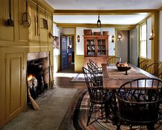 """1796 GEORGIAN COLONIAL RESTORATION. The home's original kitchen, or """"Keeping Room"""", features a massive cooking fireplace and beehive oven. Robert Benson Photography"""