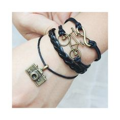 Retro Bike Camera Embellished Multi Layered Charm Bracelet ($3.18) ❤ liked on Polyvore featuring jewelry, bracelets, retro jewelry, charm bracelet, layered jewelry and retro style jewelry