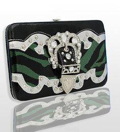 Green and Black Zebra Print Western Style Buckle Wallet - Handbags, Bling & More!