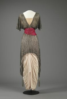 Evening Dress: ca. 1914, silk (satin, plain weave, tulle), embroidered with glass beads and sequins.