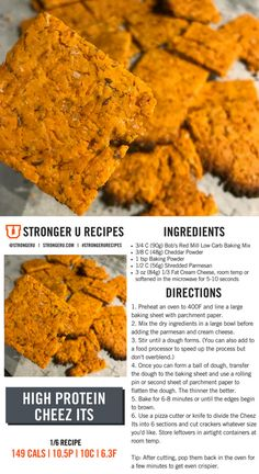 These high protein Cheez Its make for a great snack for cheese lovers. Follow us on Instagram or the #strongerurecipes tag for more recipes and food related content. Healthy Superbowl Snacks, Healthy Menu, High Protein Snacks, Healthy Food Options, Protein Foods, Healthy Eating, Vegetarian Protein, Healthy Recipes, Macro Friendly Recipes