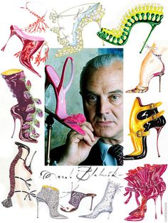 "Manuel ""Manolo"" Blahnik Rodríguez (born Nov. 28 1942, Santa Cruz de La Palma, Spain), is a Spanish fashion designer & founder of the self-named, high-end shoe brand. In the 1970s, when chunky platform shoes & boots were the mainstream footwear styling of the day, Blahnik turned back his attention to the stiletto heel, which has remained the brand's mainstay to this day. His flagship store is on Old Church Street in London's Chelsea district. Shown are Blahnik's actual design sketches."