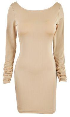 'Aimee' Nude Crystal Backless Bodycon Dress - Sale
