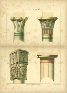 1800s Antique Architecure Print Ancient Egypt Column Capitals
