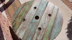 Refurbished cable reel table stained by MKColePalletCreation, $140.00
