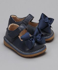 Mooshu Navy Bow Mary Jane: Made of faux leather, in sizes 3 - 6. Also available in red. On sale $14.99 #Shoes #Kids #Mooshu