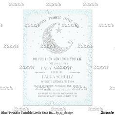 Blue Twinkle Twinkle Little Star Baby Shower Card
