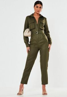 a jumpsuit in a utility style featuring pockets and belted waist with D ring detail. regular fit Ankle Grazer - Sits on the ankle bone Polyester Susie wears a UK size 8 / EU size 36 / US size 4 and her height is Denim Jumpsuit, Jumpsuit Dress, Black Jumpsuit, Dungarees, Shorts Outfits Women, Short Outfits, Short Women Fashion, Playsuit Romper, Jumpsuits For Women