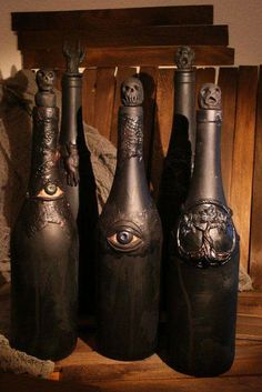 Upcycled wine bottles for that creepy Halloween decor. Looks great in a group or in a witch/apothecary shelf. Upcycled wine bottles for that creepy Halloween decor. Looks great in a group or in a witch/apothecary shelf. Halloween Apothecary, Halloween Potions, Halloween Bottles, Fete Halloween, Holidays Halloween, Halloween Crafts, Happy Halloween, Samhain Halloween, Group Halloween