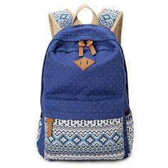 Amazon.com: Hitop Geometry Dot Casual Canvas Backpack Bag, Fashion Cute…