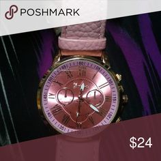 Cotton Candy Pink Watch gold bracelet jewelry New watch by Geneva. Very pretty iridescent pink big face with gold tone. Synthetic leather strap with buckle. Pretty pink. Compliments for sure! .....20% OFF WHEN BUNDLED with other orders from my store! Plus you only PAY FOR SHIPPING ONCE (no matter the amount of orders added to the bundle!!!) Geneva Platinum Accessories Watches