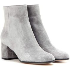 Gianvito Rossi Margaux Mid Suede Ankle Boots ($940) ❤ liked on Polyvore featuring shoes, boots, ankle booties, botas, ankle boots, grey, short boots, grey suede boots, gray booties and suede bootie