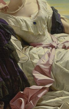 "The princess Leonilla of Sayn-Wittgenstein-Sayn is resplendent in a luxurious gown of ivory silk moiré with a pink sash around her waist. A deep purple mantle wraps around her back and falls across her smooth arms.   ""Portrait of Leonilla, Princess of Sayn-Wittgenstein-Sayn (detail),"" 1843,  Franz Xaver Winterhalter (German, 1805 - 1873). Oil on canvas."
