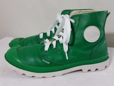 """These are a pair of Palladium Green Leather High Top Sneakers Mens size 12 US. Heel to Toe: 13"""". Heel: 1"""". Heel Width: 3.25"""". Length Insole: 11.25"""". 